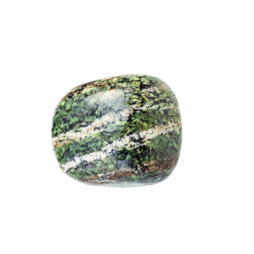 A green stone with white and brown stripes.